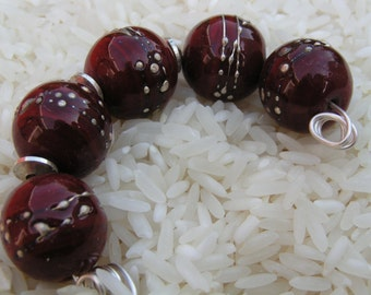 Deep Red Beads - Handmade Lampwork Beads - Red Glass Beads - HowFunIsThat - FreeE Shipping to US and Canada - SRA