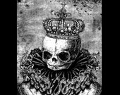 "Print 8x10"" - Queen - Skull Fetal Crown Bones Macabre Princess King Royal Dark Art Pop Victorian Haunted Skeleton Spooky Cute Ornate Skulls"
