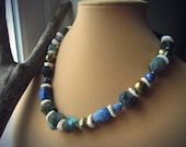 Labradorite necklace, Chunky faceted gemstone nuggets Matte sodalite Shell disc beads Freshwater pearls Brass - Tribal Gala
