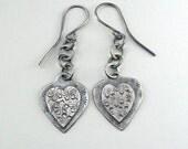 Silver Heart Earrings Sterling Silver Chain Earrings Textured Silver
