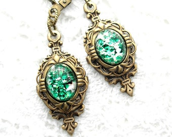 Green Glass Opal Antiqued Brass Dangle Earrings