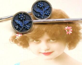 Antique BUTTON hair pins, Victorian DAISIES on silver bobby pins, hair grips, present gift.
