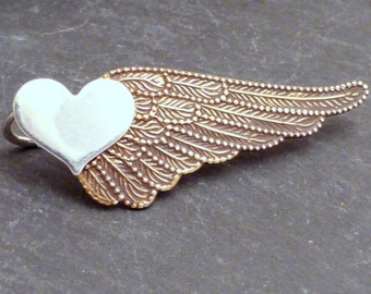 Sterling and Brass Heart Ear Sweep  -  WINGED HEART SWEEP - Mixed Metal Wing Ear Pin Earring