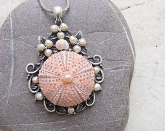 Sea Urchin Necklace Pink Pearl Necklace with Seashell Art Nouveau