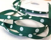Grosgrain RIBBON - 3/8 Inch x 5 Yards - Dippy Dots - White & Forest