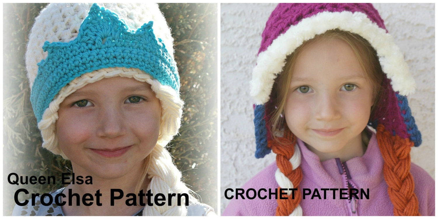 Free Crochet Pattern For Anna Hat : CROCHET PATTERN SET Elsa and Anna Hat Patterns