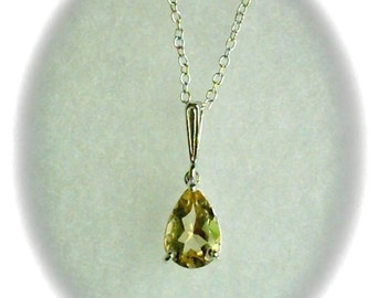 10x7mm Yellow Citrine Gemstone in 925 Sterling Silver Pendant Necklace