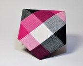 Hot Pink and Black Men's Necktie
