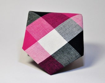 Hot Pink and Black Men's Necktie