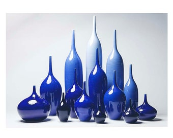 NEW- 14 Piece Collection of Stoneware Bottle Vases in Indigo Ombre by Sara Paloma.  modern home decor ceramic bud  vase
