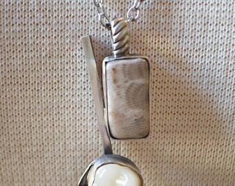 Hard Rock Candy Necklace Made With Michigan Petoskey Stone And Vintage Fake Tooth