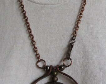 Hand Made Enameled & Copper Pendant. (155)