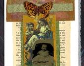 New Baby Tintype Original Collage Card