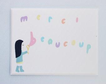 Merci beaucoup bubbles - papercut collage card
