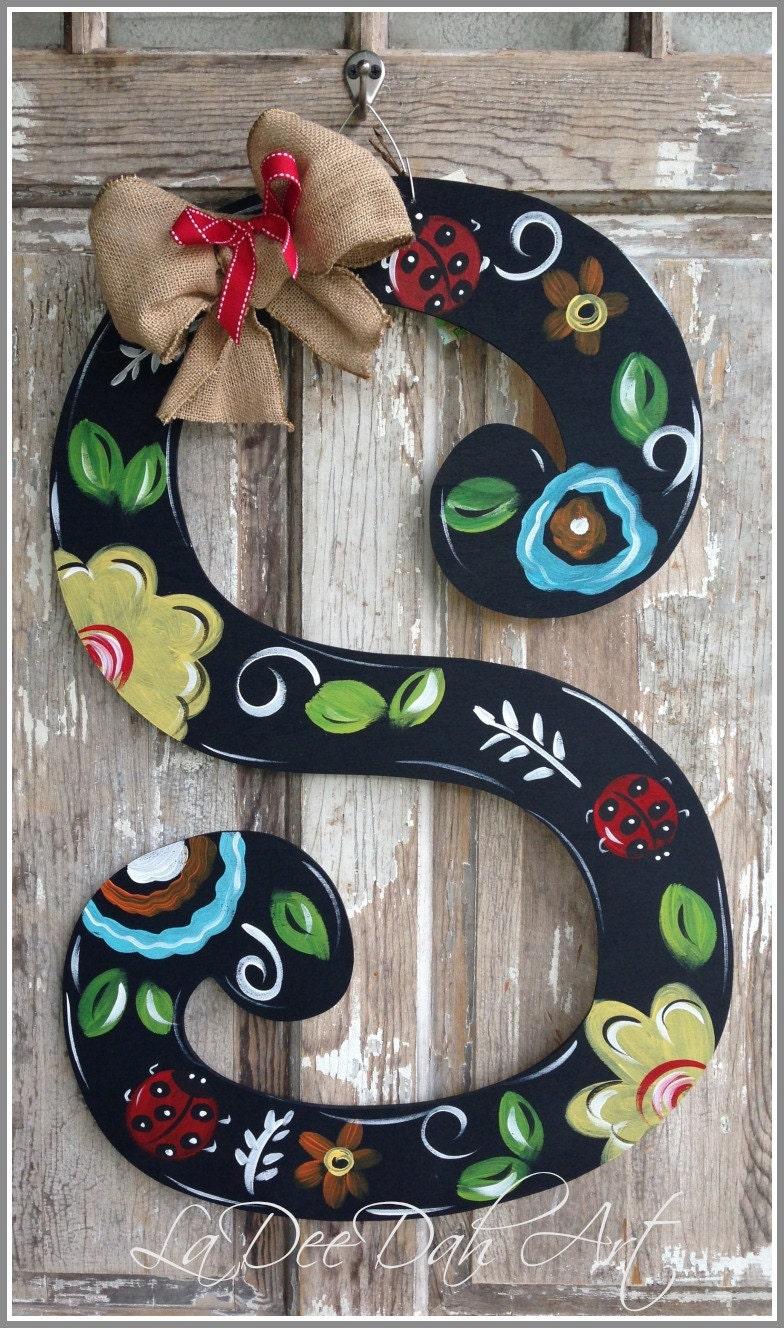 monogram letter initial door decor door art spring by ladeedahart