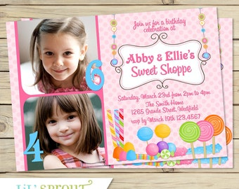 Candy Sweet Shop Joint Photo Birthday Invitation - Twin Birthday Invitation for Two Children - Pink/Multi-Color-Print Your Own Invitations-