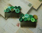 Vintage Green Buttons Embellished Hair Combs