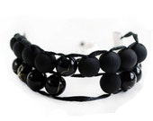 Black on Black with Silver Clasp - Ablet Knitting Abacus - Row Counter Bracelet
