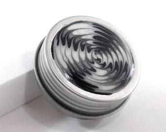 Small Starburst Treasure Box - Black, Silver & White Starburst - Jewelry Box - Trinket Box - Pill Box - Handmade - Gift for Him - #20