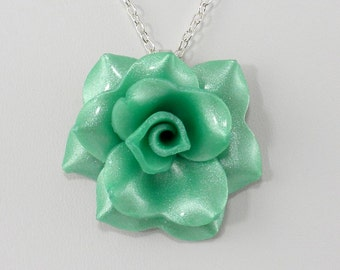 Light Green Rose Pendant - Simple Rose Necklace - Light Green Rose Necklace - Handmade Wedding Jewelry - Polymer Clay Rose Pendant #233
