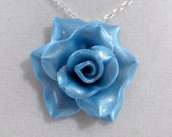 Turquoise Blue Rose Pendant - Simple Rose Necklace - Turquoise Rose Necklace  - Handmade Wedding Jewelry - Polymer Clay Rose Pendant - #211