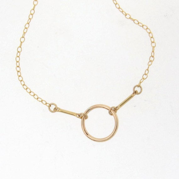 Karma Necklace As Seen On Amanda Crew, Circle With Bars, Simple And Modern - Also Available in Sterling Silver