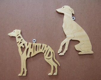 Pair of Greyhoud Christmas Decoration Ornament Scroll Saw Wood Gift Tag Cut Out