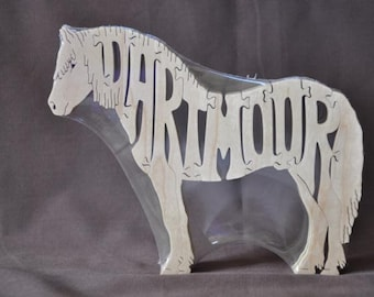 Adorable Dartmoor Pony Horse  Puzzle Wooden Toy Hand Cut with Tack Room Toy