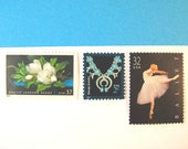 Wedding Postage Stamps, Ballet White Magnolia Turquoise, Mail 20 Invitations 2 oz, Black and White Stamps two ounce postage stamps, 71 cents