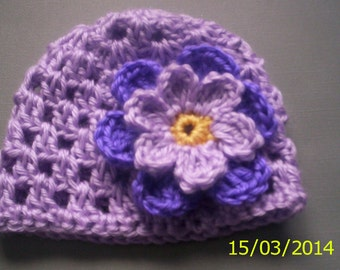 Baby girl hat 0 - 3 months lavender with flower crochet. Option to buy booties