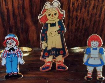 Vintage Raggedy Ann Pin and Two Rings Jewelry