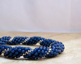Blue and Silver Bead Crochet Bracelet, Crochet Jewelry, Beaded Bracelet, Blue Bangle Bracelet