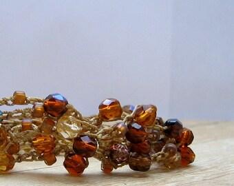 Crystal Boho Wrap Bracelet,  Brown and Amber Beaded Wrap Around Bracelet, Autumn Crochet Jewelry, Bohemian Style, Fall Fashion