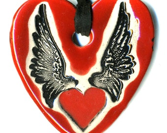 Heart with Wings Ceramic Necklace in Red