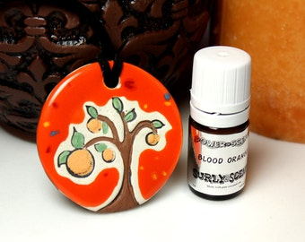 Blood Orange Scented Ceramic Tree Necklace with Blood Orange Essential Oil medium size