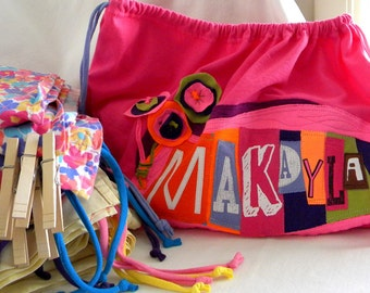 Fort Build Kit Upcycled Drawstring Bag SET Personalized ONE Bag Two Sheets Five Clothespins Five Clamps
