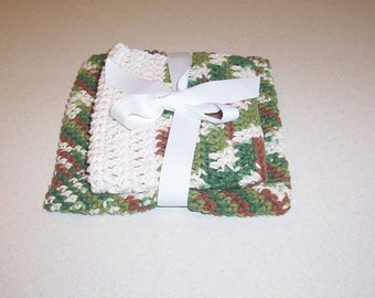 Crochet Olive Green Brown and Cream Potholder and Dishcloth Set