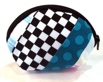 Coin Purse With Checks and Dots Small