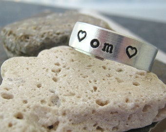 Om Ring, Yoga Ring, Heart Ring, Aluminum Ring, Namaste Ring, customization available, 1/4 inch width wrap ring, peace, 3rd pic shows model