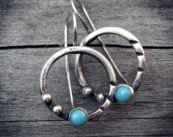 Sleeping beauty turquoise sterling silver circle dangle earrings