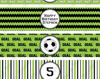 Printable Soccer Birthday Water Bottle Wrappers