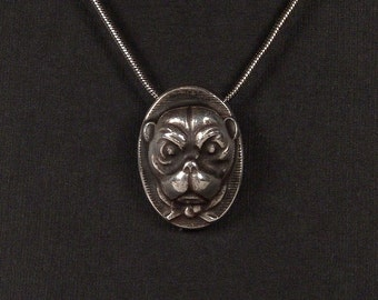 Sterling Silver Dog pendant made from antique vintage button