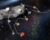 "Long Solar System Galaxy Necklace - Elegant, Unique Space Jewelry - 14k Gold or Sterling Silver - Planets, Sun, Earth, Milky Way - 30"" Chain"