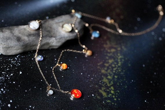 """Long Solar System Galaxy Necklace - Elegant, Unique Space Jewelry - 14k Gold or Sterling Silver - Planets, Sun, Earth, Milky Way - 30"""" Chain"""