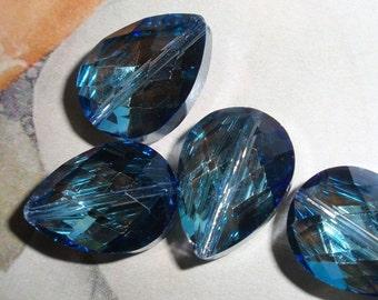 Lapis Crystal,Translucent Teardrop Glass Beads-4