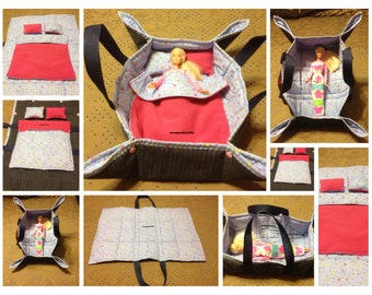 Doll Carrier for Barbie Sized Dolls with Reversible Comforter and 2 Reversible Pillows