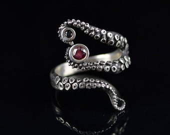 SALE - Wicked Tentacle Ring with Ruby and Black Diamond, Wedding Band, Engagement Ring, Occasion