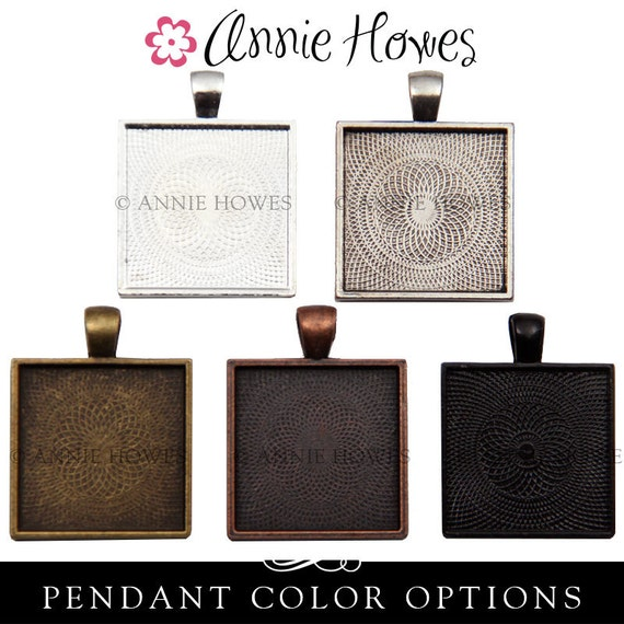 "Square Bezel Pendant Tray with Textured Back. 25mm or 1"". Silver, Gold, Copper, Black Options. 25 Pack."