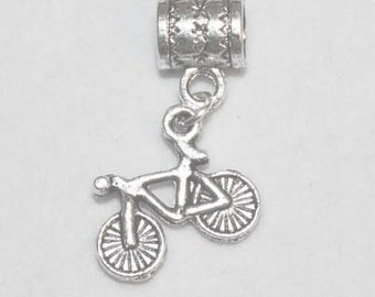 Silver Bicycle Lrg Hole Bead Fits All European, all Add a Bead Charm Bracelet Jewelry Pnd-Gn084eb