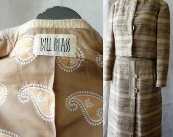 Vintage Designer BILL BLASS Dress Womens Suit size 4 6 8 small Cropped Bolero JACKET Aline Skirt Weighty Silk Linen Tan Ivory